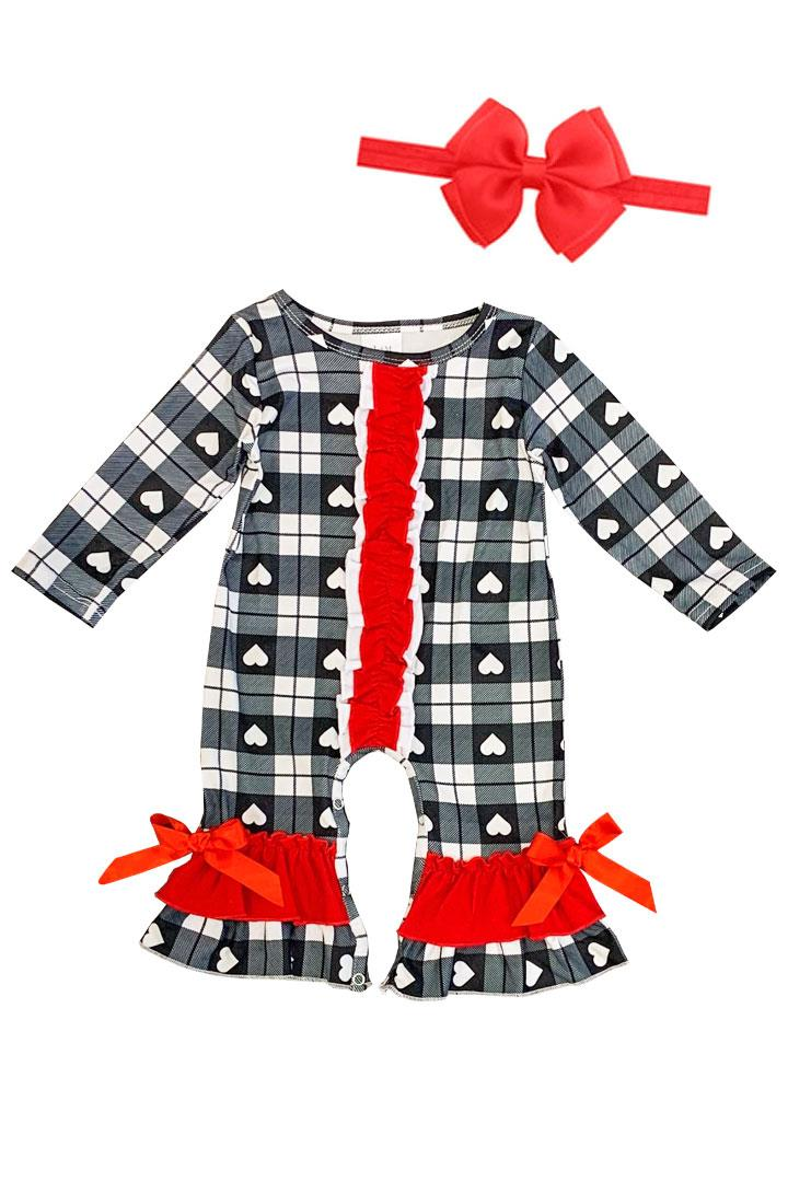 Black Plaid Heart Romper Ruffle Bow