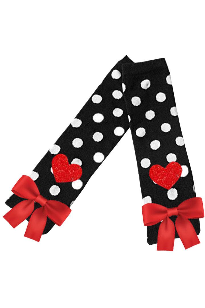Black Polka Dot Heart Leg Warmers Red Bow