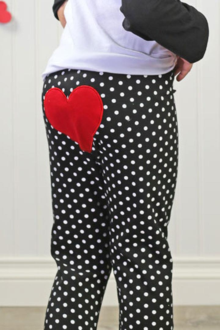 Black Polka Dot Heart Pants