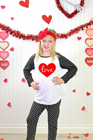 Black Polka Dot Love Heart Pajamas