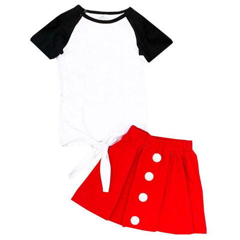 Black Raglan Top And Skirt Knot Tie