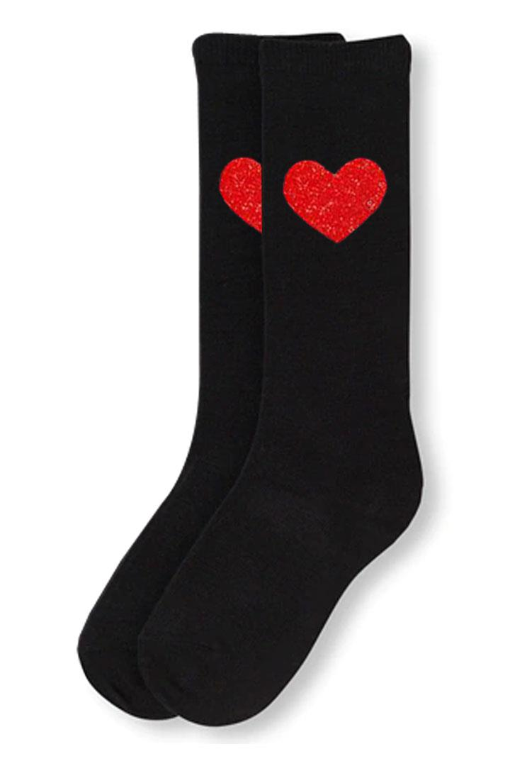 Black Red Heart Long Socks Sparkle