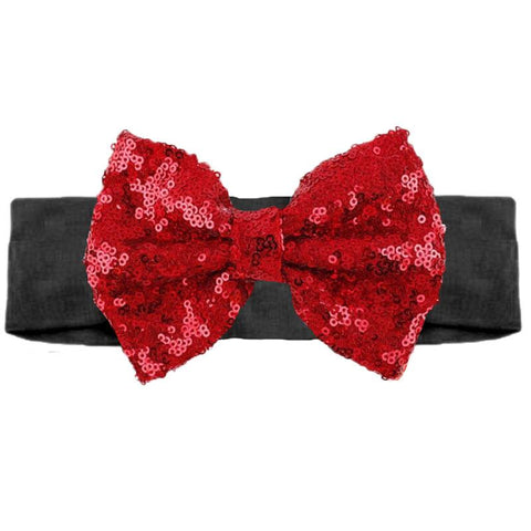 Black Red Sequin Bow Headband