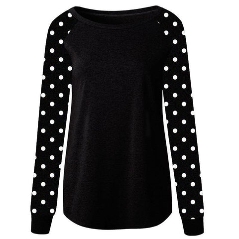 Black Shirt Raglan White Polka Dot Long Sleeve