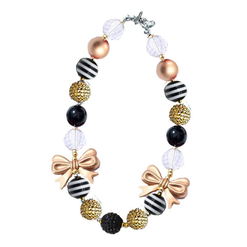 Black Stripe Gold Sparkle Bow Necklace Chunky Gumball