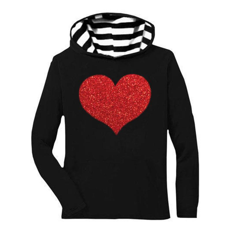 Black Stripe Heart Hoodie Sparkle Mommy And Me