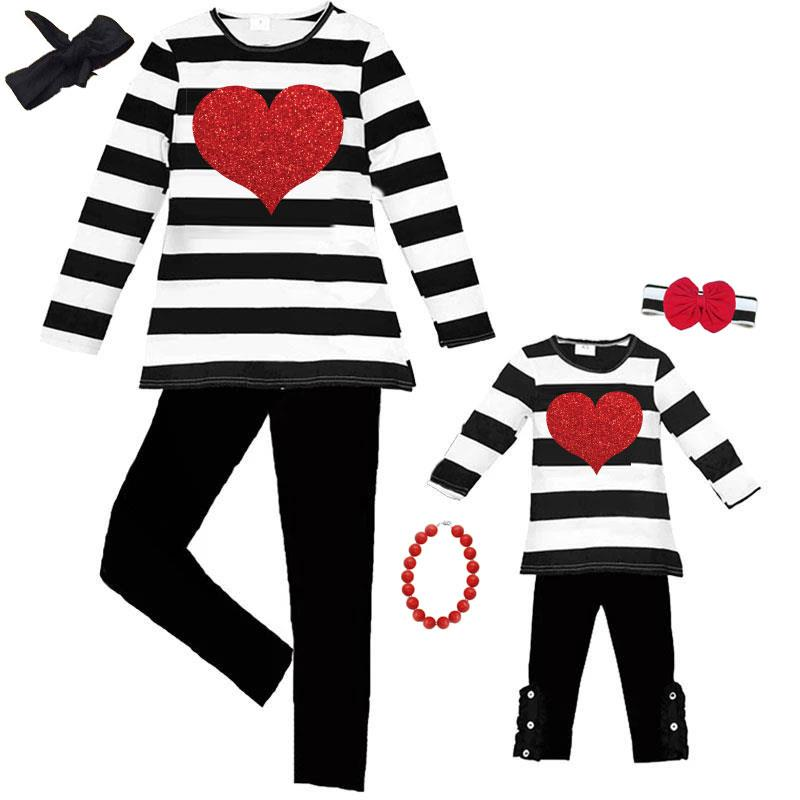 Black Stripe Heart Outfit Sparkle Top And Pants Mommy And Me