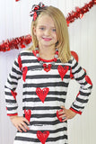 Black Stripe Heart Red Fringe Dress