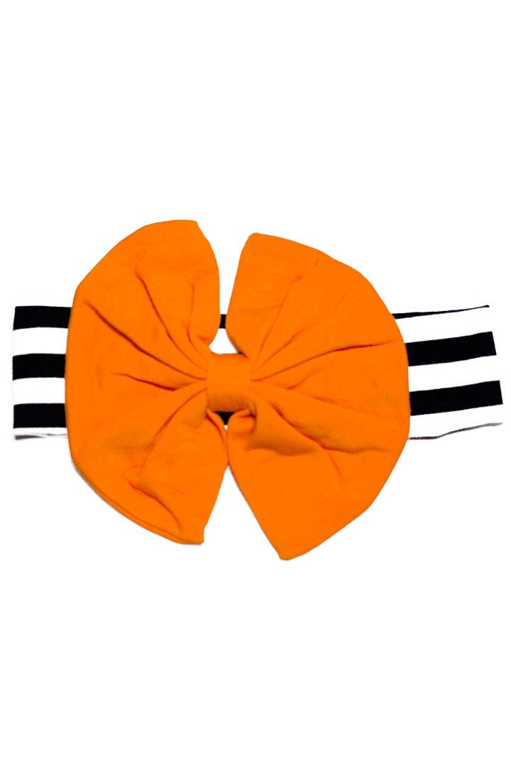 Black Stripe Orange Messy Bow Headband