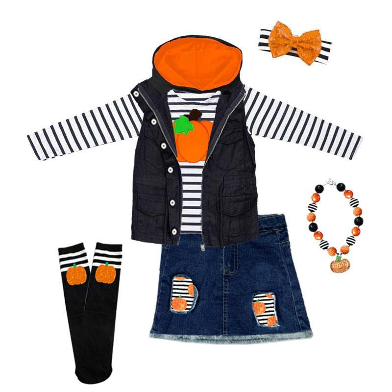 Black Stripe Pumpkin Outfit Vest Top And Skirt