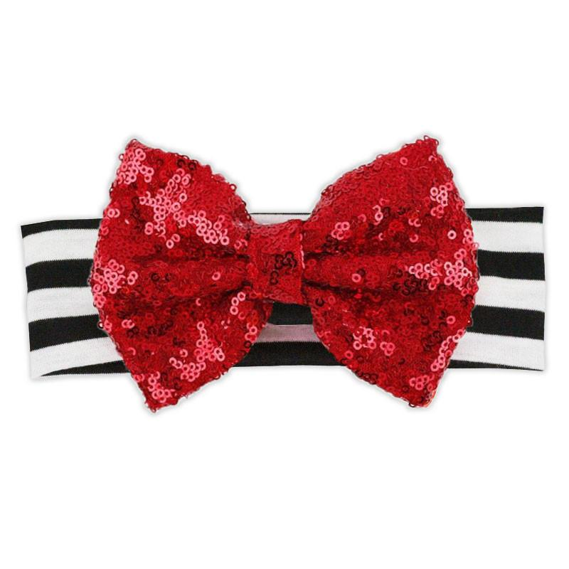 Black Stripe Red Sequin Bow Headband