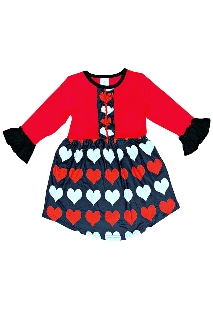 Black White Red Hearts Ruffle Dress