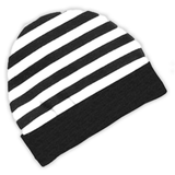 Black White Stripe Beenie Hat