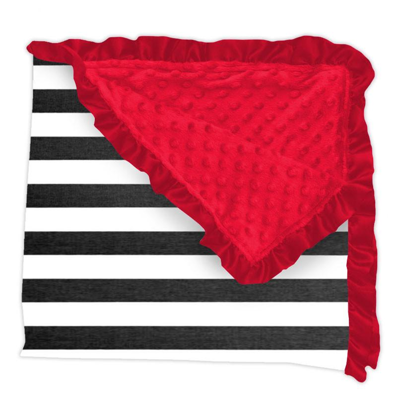 Black White Stripe Red Minky Blanket