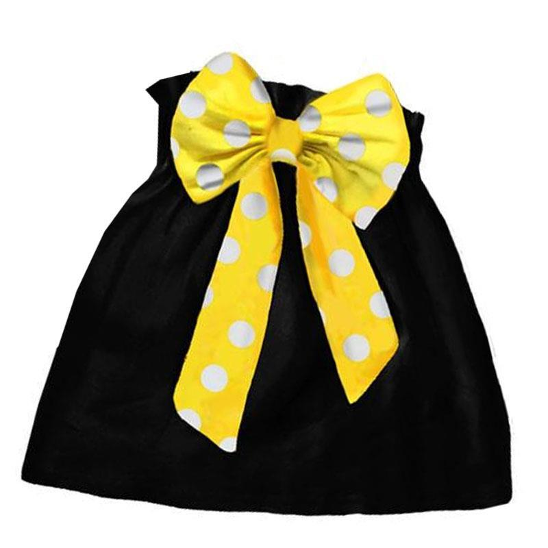 Black Yellow Skirt Polka Dot Bow