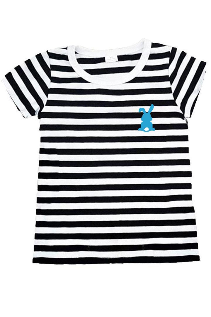 Blue Cottontail Bunny Shirt Black Stripe
