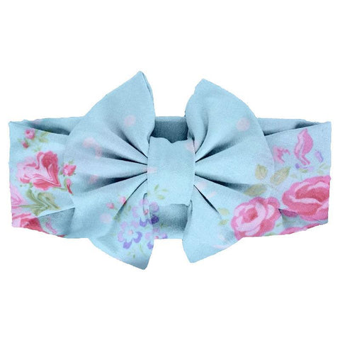 Blue Polka Dot Pink Floral Messy Bow Headband