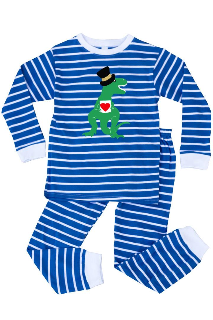 Blue Stripe Dinosaur Heart Pajamas