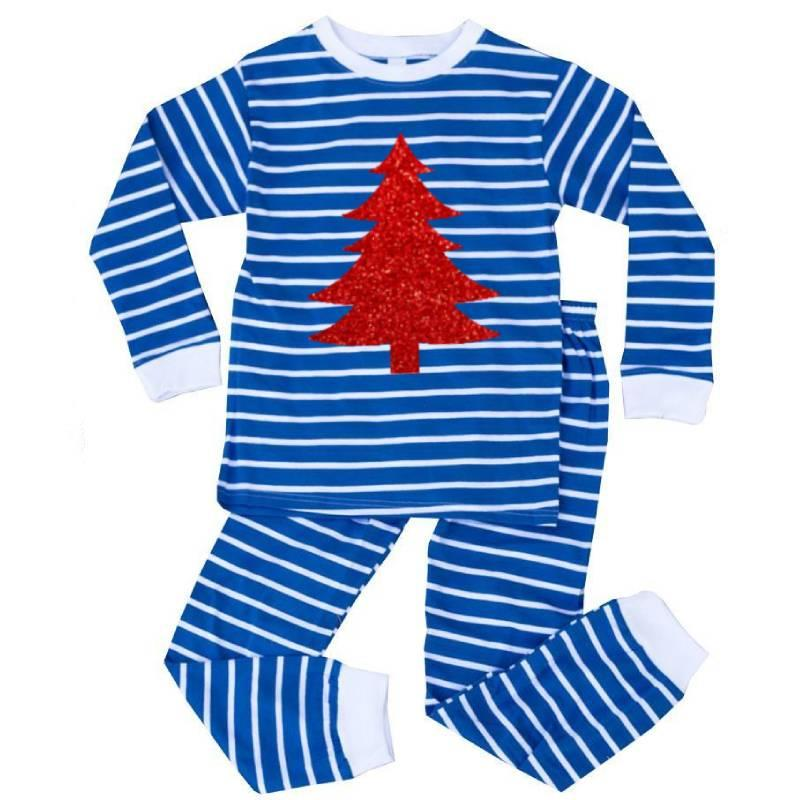 Blue White Stripe Red Sparkle Christmas Tree Pajamas