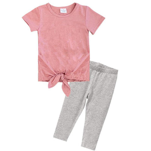 Blush Gray Outfit Knot Top And Capri Mommy Me