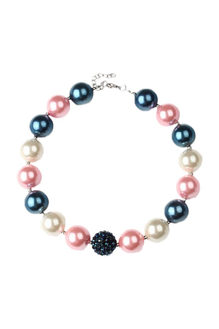 Blush Navy Pearl Necklace Chunky Gumball