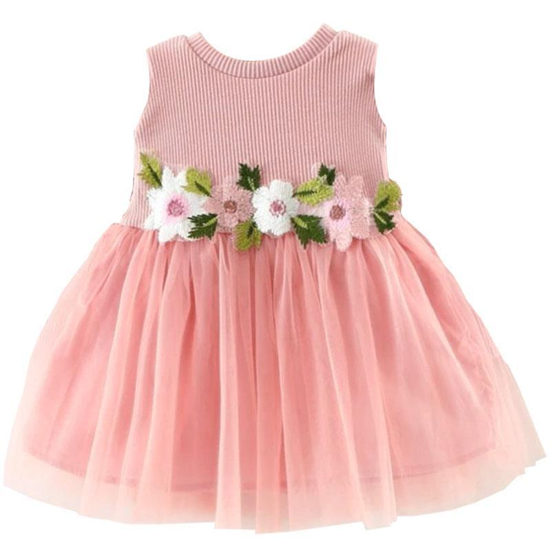 Blush Pink Embroidered Floral Tutu Tank Dress