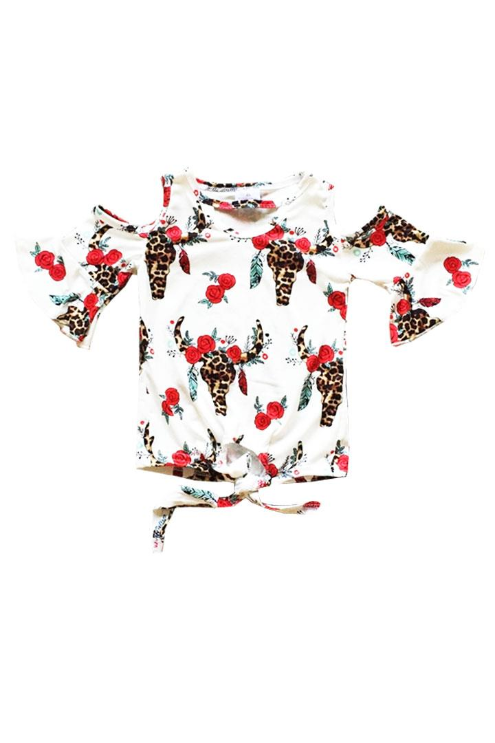 Bohemian Cow Floral Shirt Red Tie