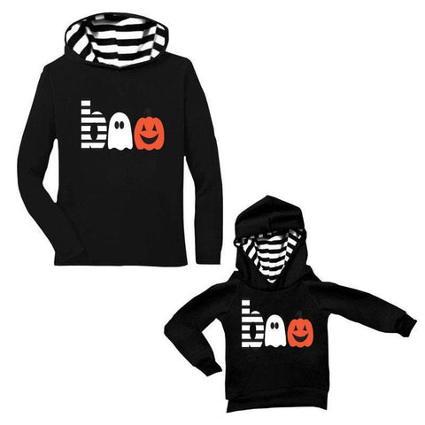 Boo Ghost Jackolantern Hoodie Black Stripe Mommy And Me