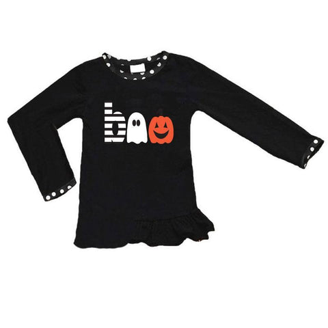 Boo Ghost Jackolantern Shirt Black Polka Dot