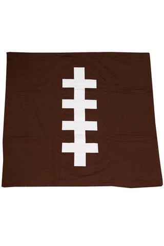Brown Football Minky Blanket No Ruffle