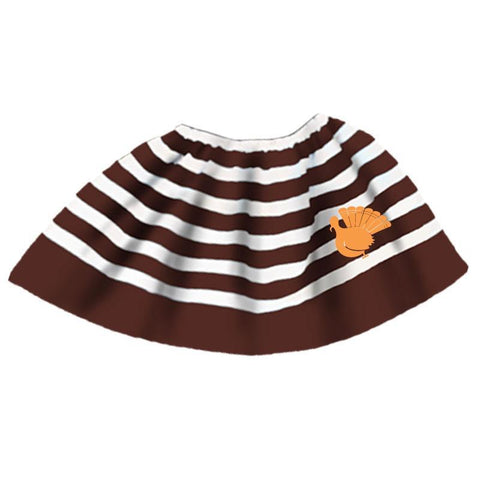 Brown Stripe Turkey Skirt Orange