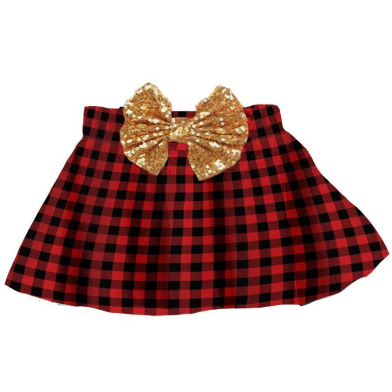 Buffalo Checkered Plaid Skirt Gold Sequin Bow