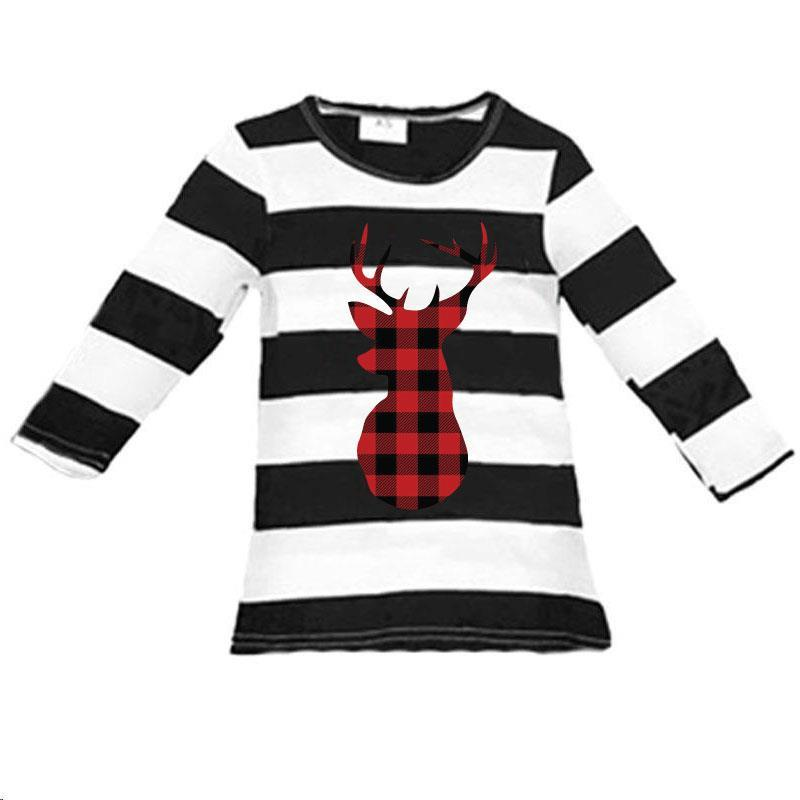 Buffalo Plaid Deer Shirt Black Stripe Mommy Me