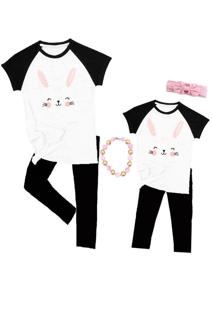 Bunny Ears Raglan Shirt Pink Mommy And Me