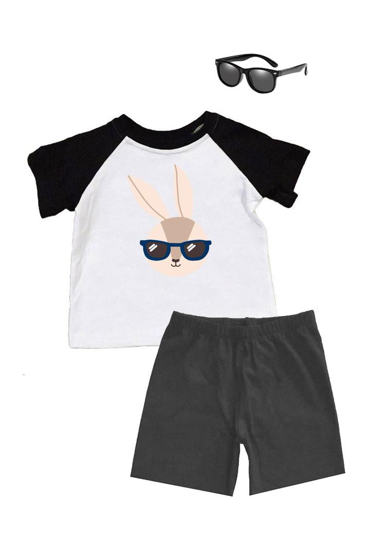 Bunny Glasses Shirt Black Raglan Boy