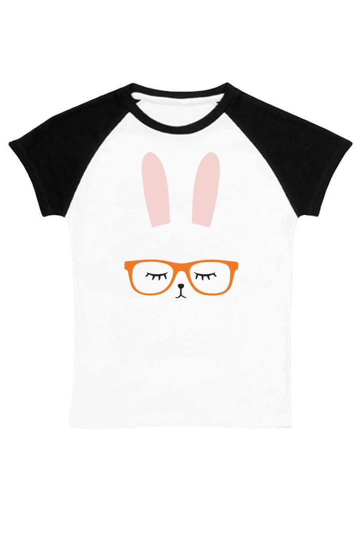 Bunny Glasses Shirt Orange Black Raglan Mommy And Me