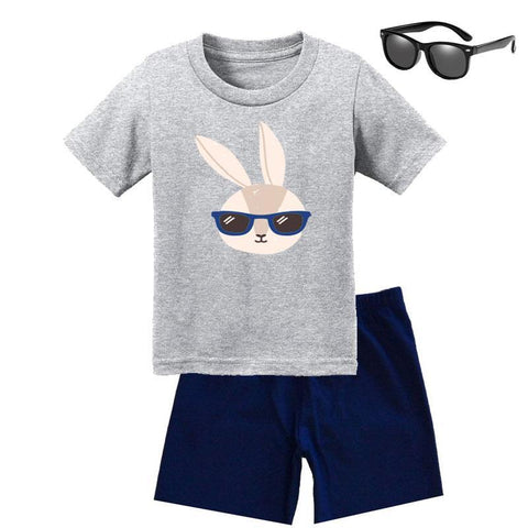 Bunny Hip Hop Shades Navy Heather Gray Shirt Daddy Me