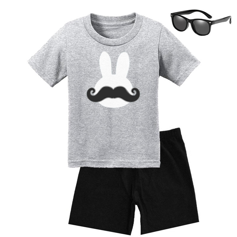 Bunny Stache Outfit Heather Gray Black Shirt Daddy Me