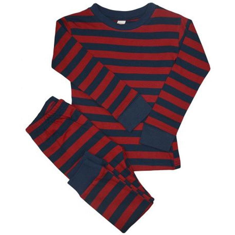 Burgandy Navy Stripe Pajamas
