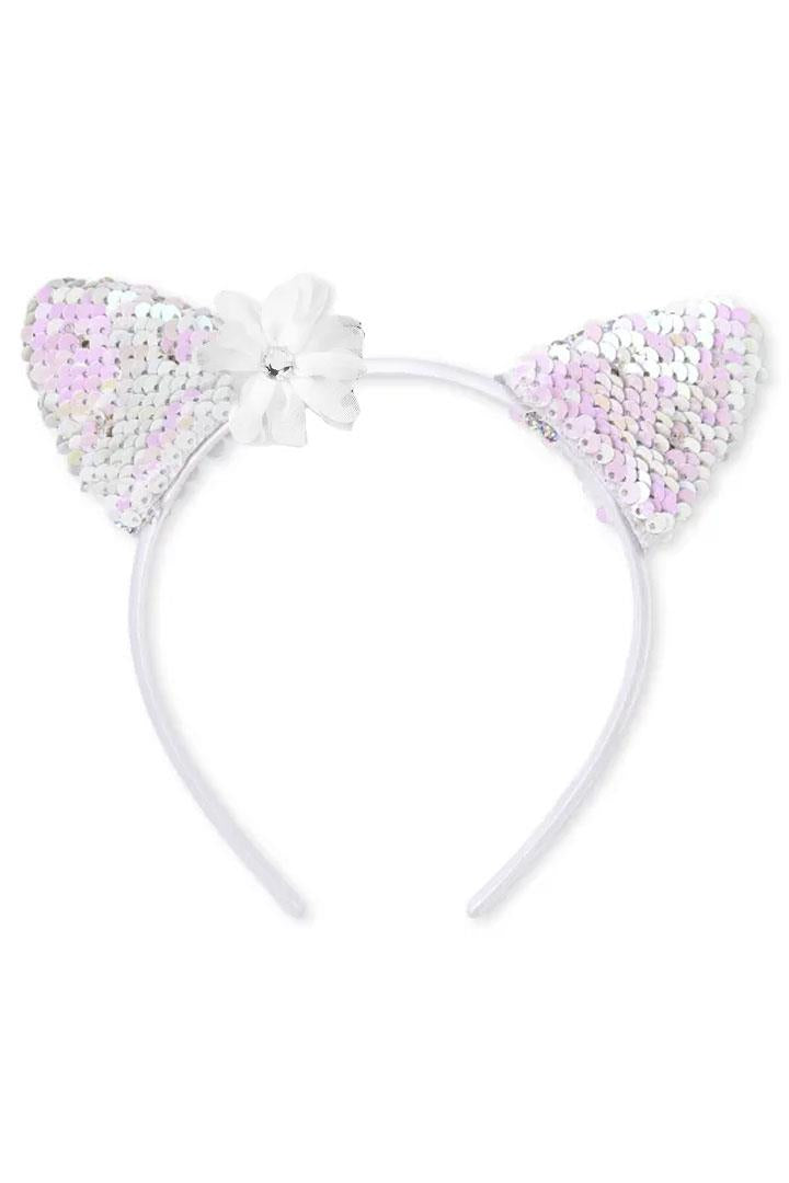 Cat Ears Flower Flip Sequin Headband Silver