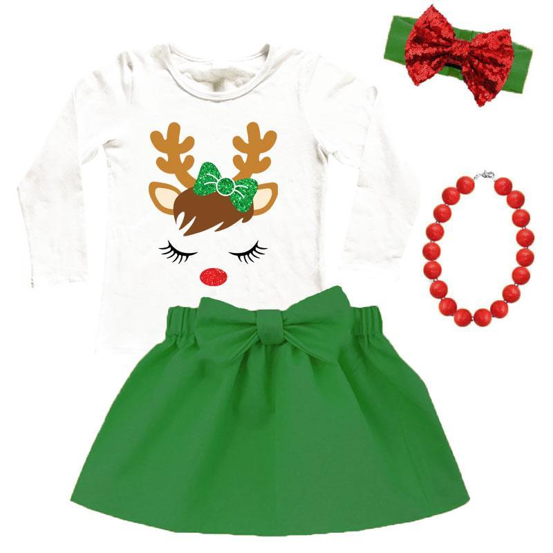 Christmas Green Reindeer Outfit Sparkle Top And Skirt