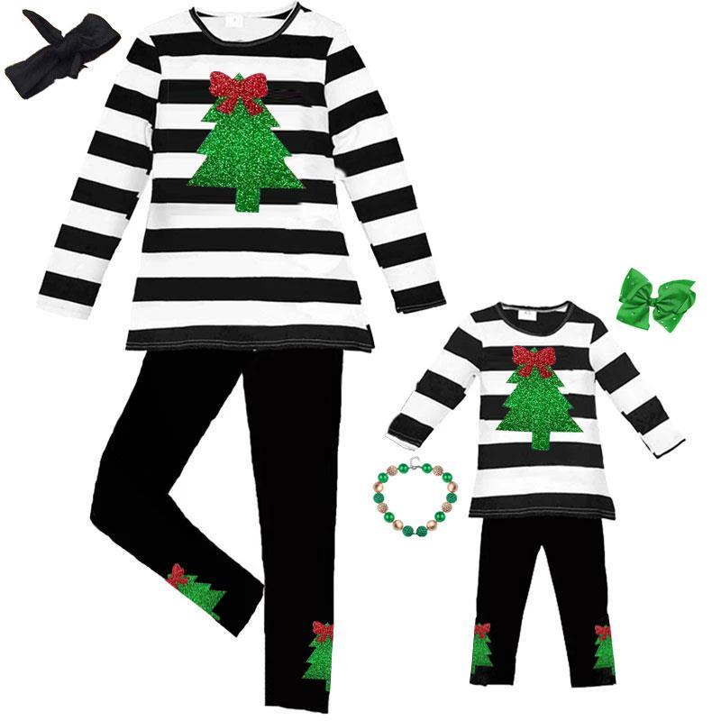 Christmas Tree Sparkle Outfit Stripe Top And Pants Mommy And Me