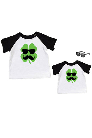 Clover Mustache Glasses Shirt Black Raglan Daddy And Me