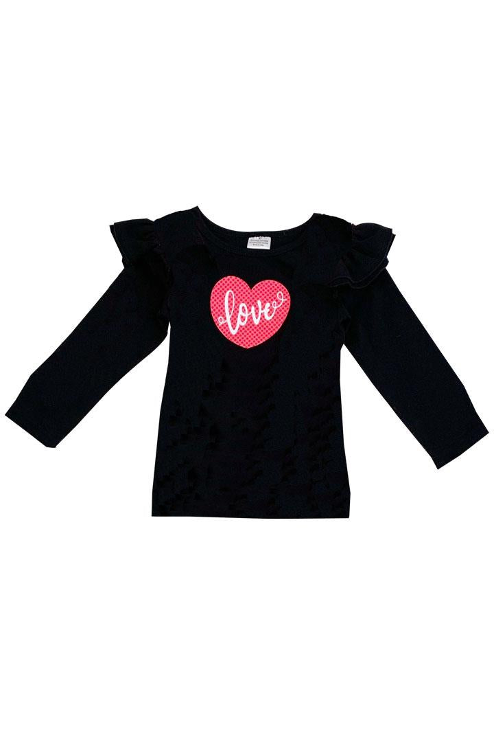 Coral Pink Black Love Shirt Polka Dot Ruffle