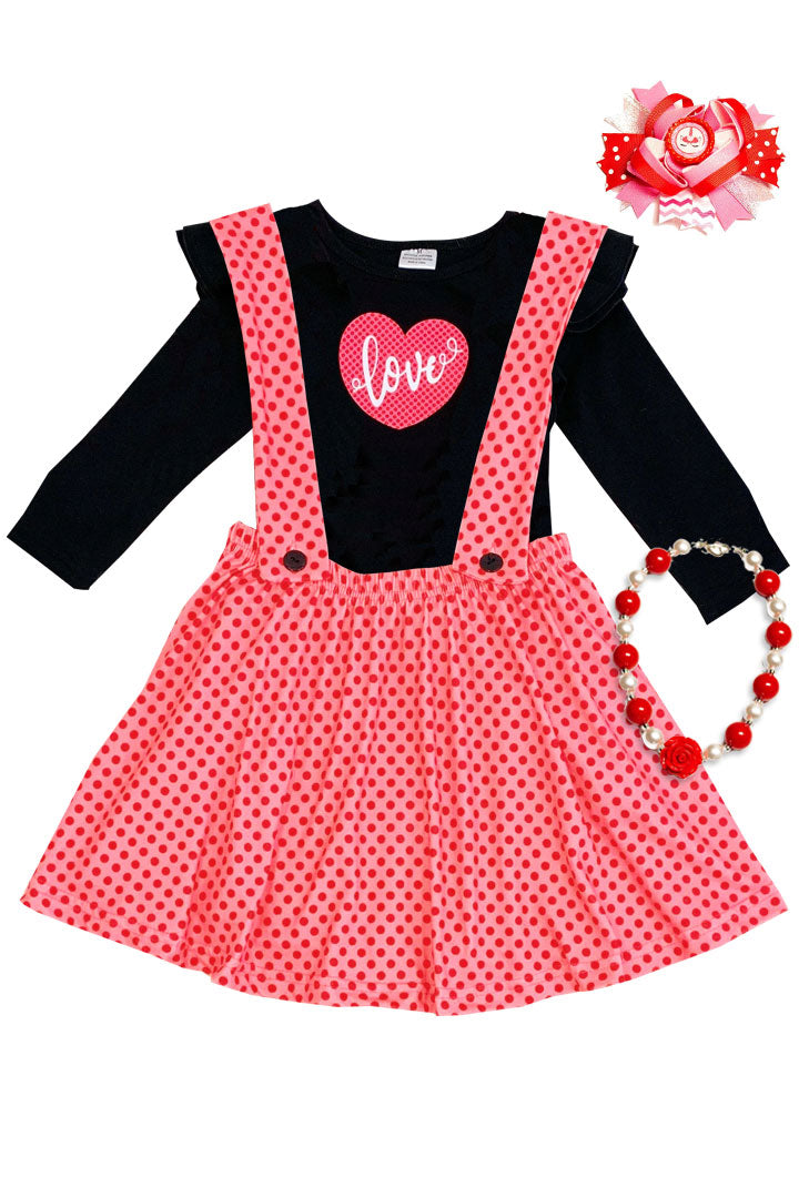 Coral Pink Love Heart Outfit Red Polka Dot Top And Jumper