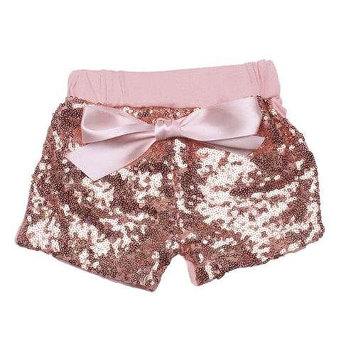 Coral Sequin Shorts Bow