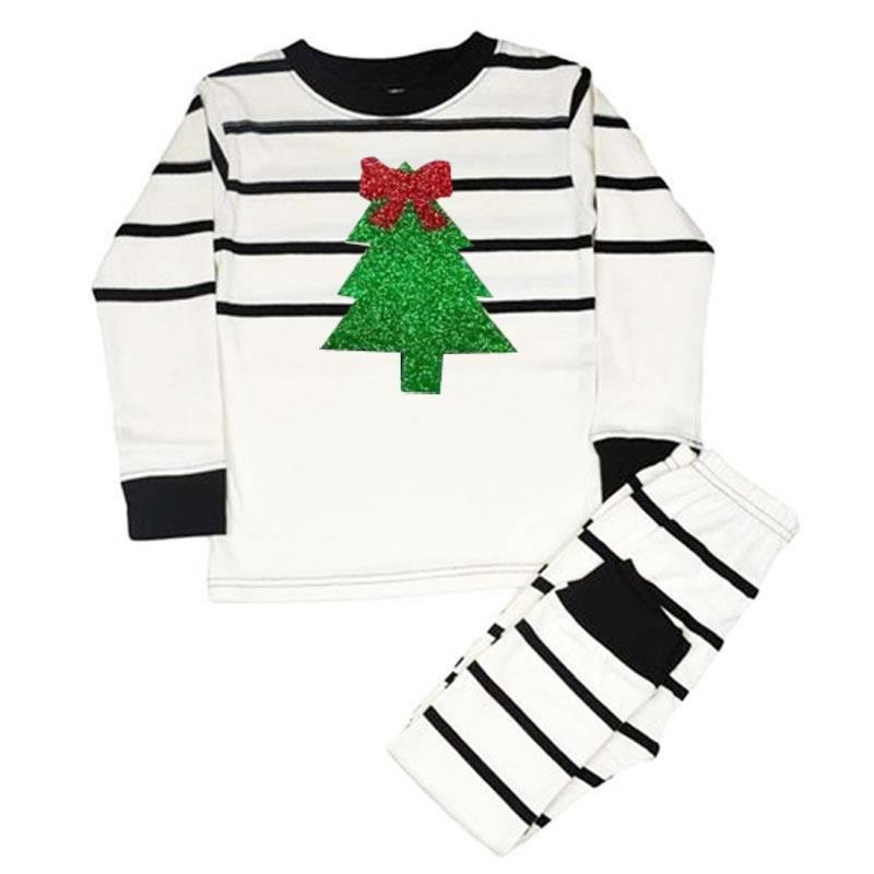 Cream Black Stripe Green Sparkle Christmas Tree Pajamas
