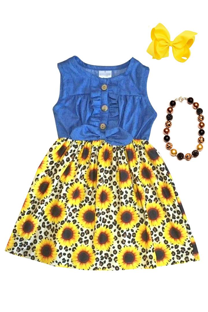 Denim Button Bow Leopard Sunflower Floral Spring Dress