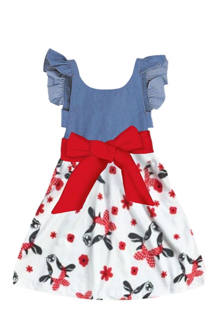 Denim Cow Dress Red Flower Bow Ruffle