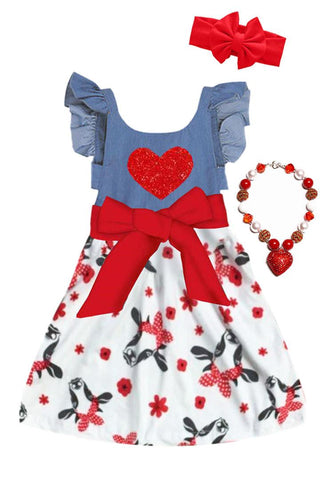 Denim Cow Love Heart Dress Red Bow Ruffle